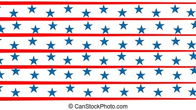 Composition of blue stars on blue with red and white stripes of american flag