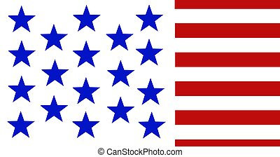 Composition of blue stars on white, with red and white stripes of american flag