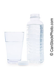 composition of bottle and glass with water