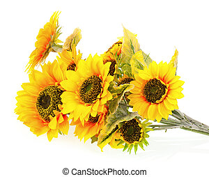 Composition of bright artificial sunflowers on white background.