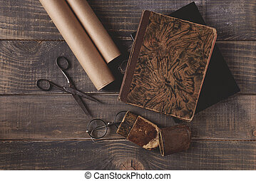 Composition of brown accessories