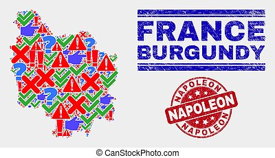Composition of Burgundy Province Map Symbol Mosaic and Grunge Napoleon Stamp