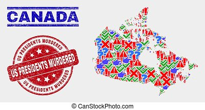 Composition of Canada Map Symbol Mosaic and Scratched Us Presidents Murdered Watermark