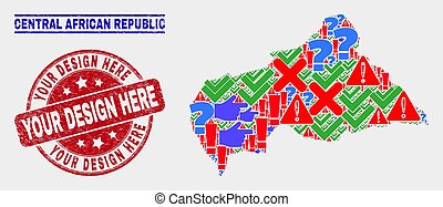 Composition of Central African Republic Map Symbol Mosaic and Scratched Your Design Here Watermark
