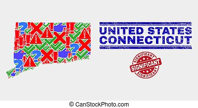 Composition of Connecticut State Map Symbol Mosaic and Distress Significant Seal