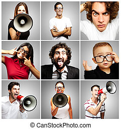 composition of crazy people over grey background
