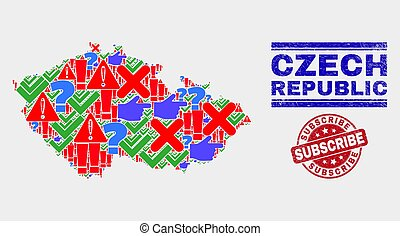 Composition of Czech Republic Map Sign Mosaic and Grunge Subscribe Stamp