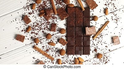Composition of dark and milk chocolate with spice - From...