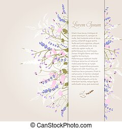 Composition of delicate wild flowers on a beige background with space for your text. Card. Vector