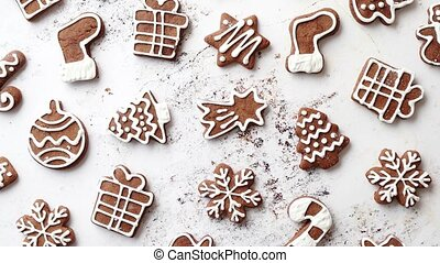 Composition of delicious gingerbread cookies shaped in...