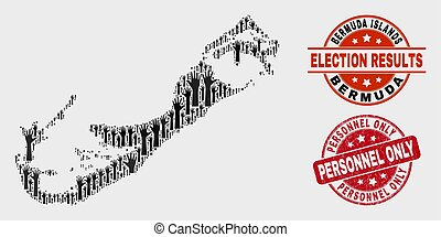 Composition of Election Bermuda Islands Map and Distress Personnel Only Stamp Seal