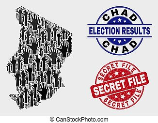 Composition of Election Chad Map and Scratched Secret File Stamp