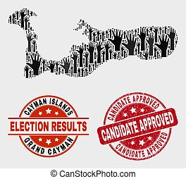 Composition of Election Grand Cayman Island Map and Grunge Candidate Approved Stamp Seal