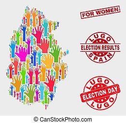 Composition of Election Lugo Province Map and Grunge For Women Stamp Seal