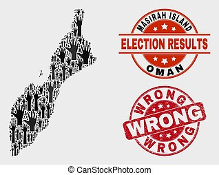 Composition of Election Masirah Island Map and Scratched Wrong Stamp Seal