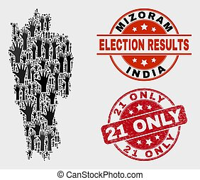 Composition of Election Mizoram State Map and Grunge 21 Only Stamp Seal