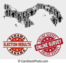 Composition of Election Panama Map and Scratched Online Survey Stamp Seal