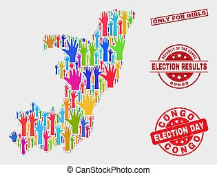 Composition of Election Republic of the Congo Map and Distress Only for Girls Stamp