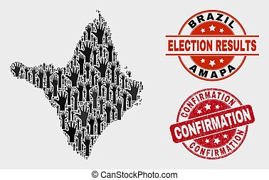 Composition of Electoral Amapa State Map and Grunge Confirmation Stamp Seal