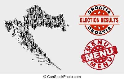 Composition of Electoral Croatia Map and Distress Menu Stamp Seal