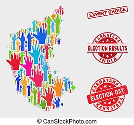 Composition of Electoral Karnataka State Map and Distress Expert Choice Stamp Seal