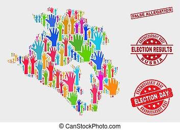 Composition of Electoral Krasnodarskiy Kray Map and Distress False Allegation Watermark