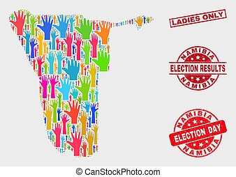 Composition of Electoral Namibia Map and Scratched Ladies Only Stamp Seal