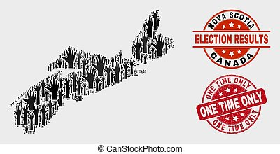 Composition of Electoral Nova Scotia Province Map and Grunge One Time Only Stamp Seal