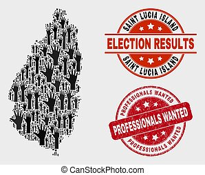 Composition of Electoral Saint Lucia Island Map and Distress Professionals Wanted Watermark