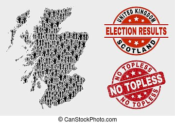 Composition of Electoral Scotland Map and Distress No Topless Stamp Seal