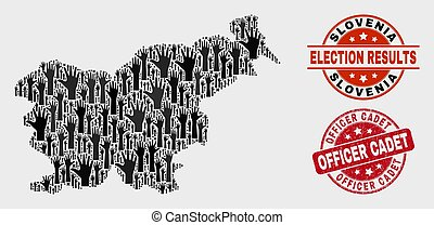 Composition of Electoral Slovenia Map and Distress Officer Cadet Stamp Seal