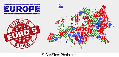 Composition of Europe Map Sign Mosaic and Distress Euro 5 Stamp Seal