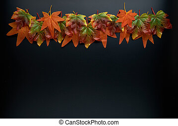 Composition of fall or autumn leaves on a dark background. Autumn, fall, halloween, thanksgiving day concept. Flat lay, top view, copy space..