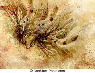 composition of feathers, notes and note lines, music theme with ornamental background.