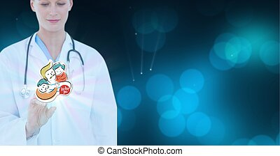 Composition of female doctor touching virtual screen with people illustration and copy space