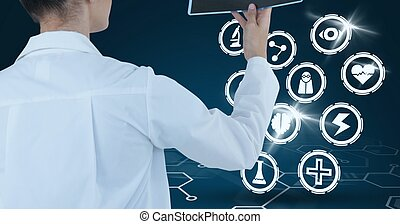 Composition of female doctor using virtual screen with medical icons on blue background