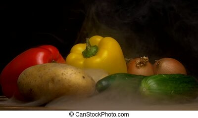 Composition of fresh vegetables, tomato, onion, potatoes and...