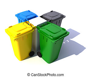 Composition of Garbage bins in colors