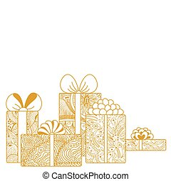 Composition of gift boxes on white background