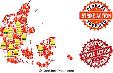 Composition of Gilet Jaunes Protest Map of Denmark and Strike Action Stamps