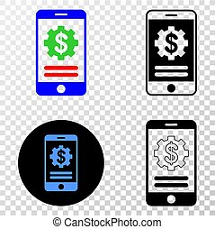 Composition of Gradiented Dotted Mobile Financial Options and Grunged Stamp