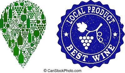 Composition of Grape Wine Local Place and Best Wine Grunge Stamp