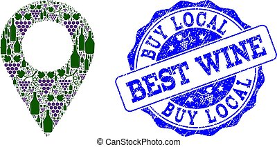 Composition of Grape Wine Local Place and Best Wine Stamp
