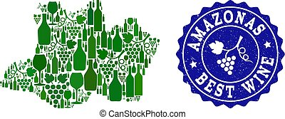 Composition of Grape Wine Map of Amazonas State and Best Wine Grunge Stamp