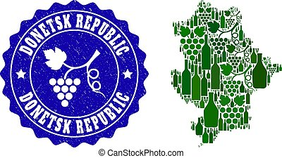 Composition of Grape Wine Map of Donetsk Republic and Grape Grunge Stamp