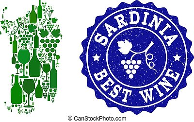 Composition of Grape Wine Map of Sardinia Region and Best...