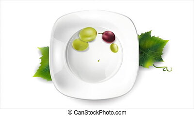 Beautiful grapes appear on a white plate.