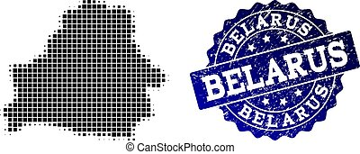 Composition of Halftone Dotted Map of Belarus and Grunge Stamp Watermark