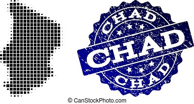 Composition of Halftone Dotted Map of Chad and Grunge Stamp Watermark