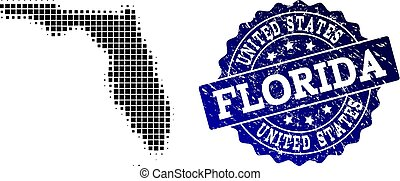 Composition of Halftone Dotted Map of Florida State and Grunge Stamp Watermark